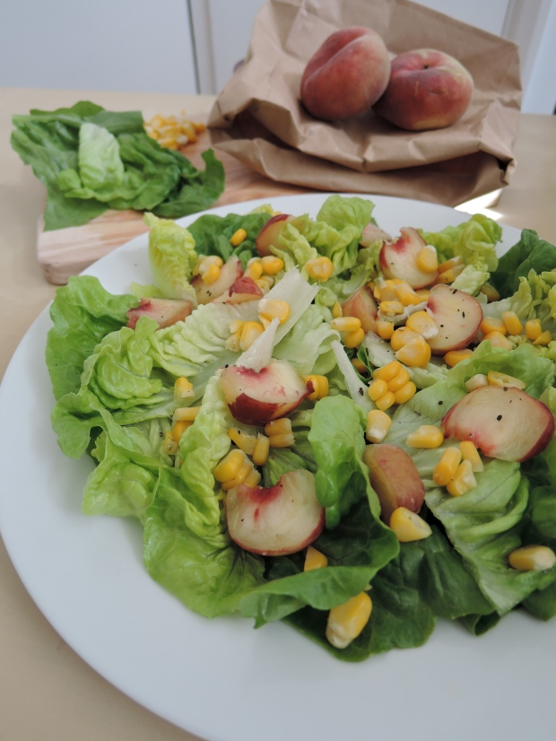 Peach, Corn and Gem Lettuce Salad | Add A Little