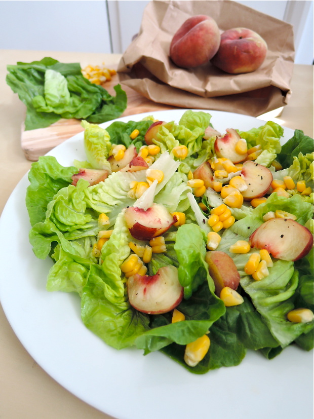 Peach, Corn & Gem Lettuce Salad | Add A Little