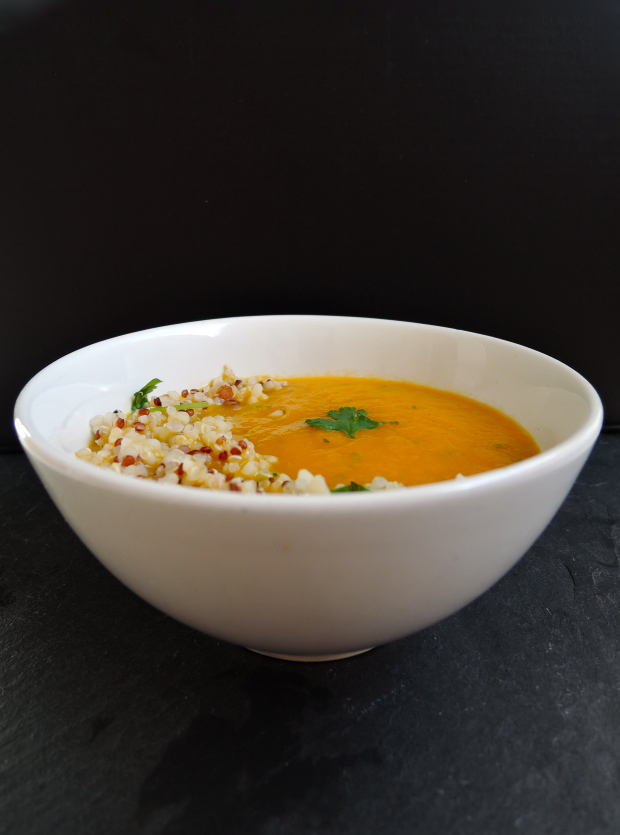 Carrot & Coriander Soup with Nutty Quinoa | Add A Little